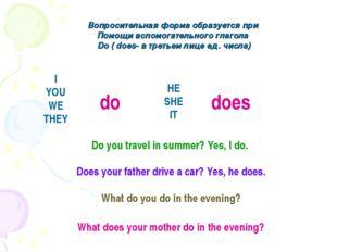 Вопросительная форма образуется при Помощи вспомогательного глагола Do ( does