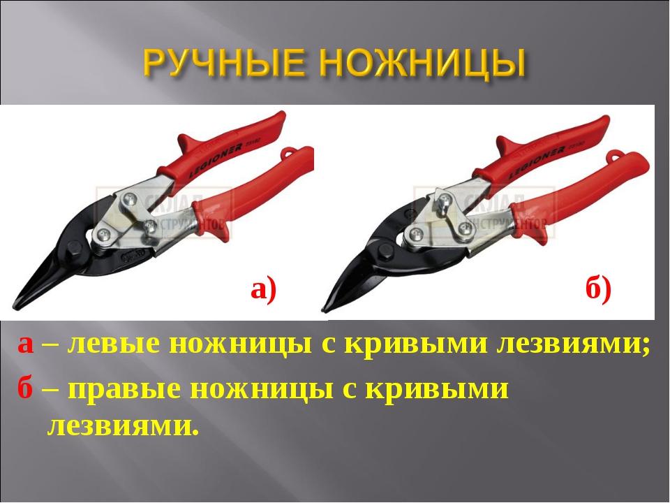 а – левые ножницы с кривыми лезвиями; б – правые ножницы с кривыми лезвиями....