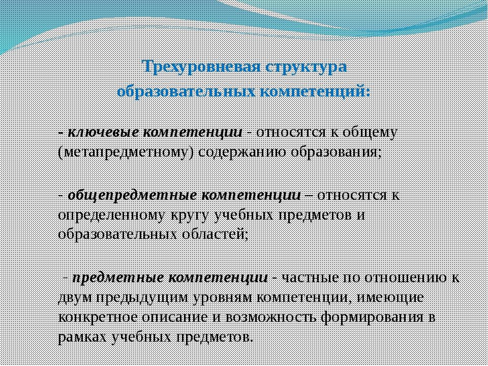 Трехуровневая структура образовательных компетенций: - ключевые компетенции...