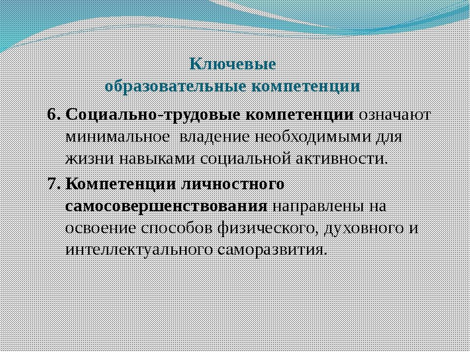 Ключевые образовательные компетенции 6. Социально-трудовые компетенции означа...