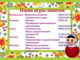 Наши игры-занятия Понедельник Физическое развитие 9.00-9.15-9.25 Строительные