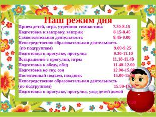 Наш режим дня Прием детей, игра, утренняя гимнастика 7.30-8.15 Подготовка к з