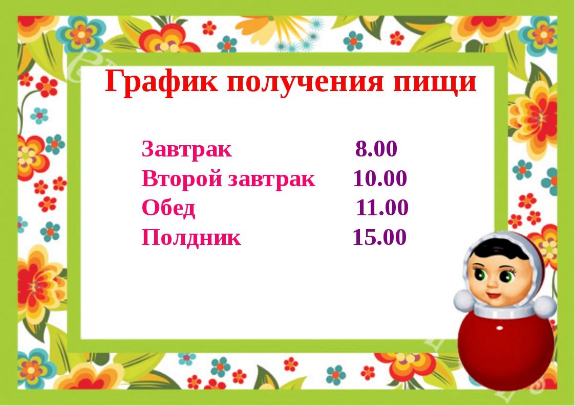 График получения пищи Завтрак 8.00 Второй завтрак 10.00 Обед 11.00 Полдник 15...