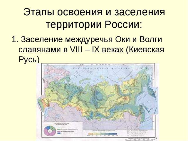 Этапы освоения и заселения территории России: 1. Заселение междуречья Оки и В...