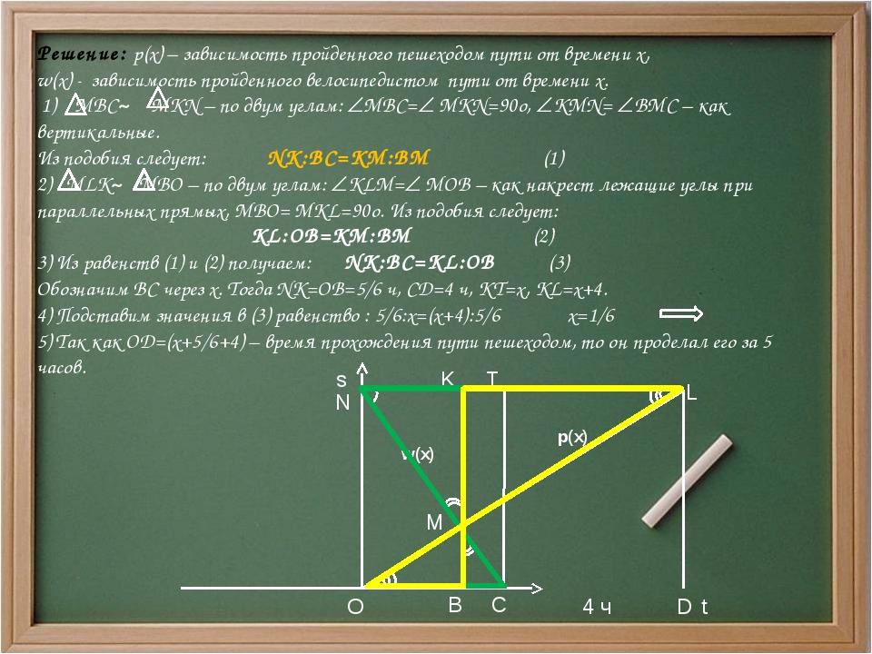 Решение: p(x) – зависимость пройденного пешеходом пути от времени x, w(x) -...