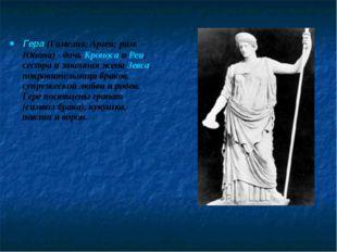 Гера (Гамелия, Аргея; рим. Юнона) - дочь Кроноса и Реи, сестра и законная жен