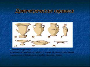Древнегреческая керамика Бытовая керамика: а) картер, б) амфора, в) гидрия, г