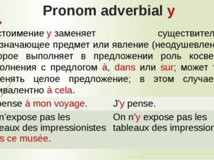 Pronom adverbial y Местоимениеyзаменяет существительное, обозначающее предм