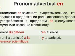 Pronom adverbial en Местоимениеenзаменяет существительное, которое выполняе