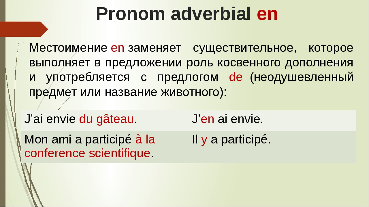 Pronom adverbial en Местоимениеenзаменяет существительное, которое выполняе...