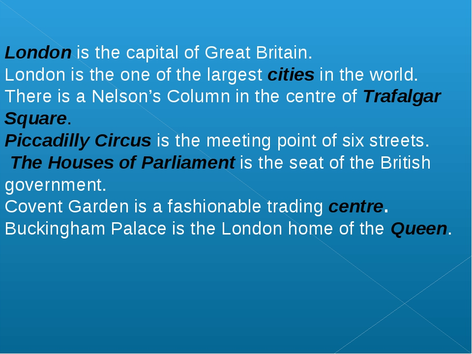 London is the capital of Great Britain. London is the one of the largest ci...