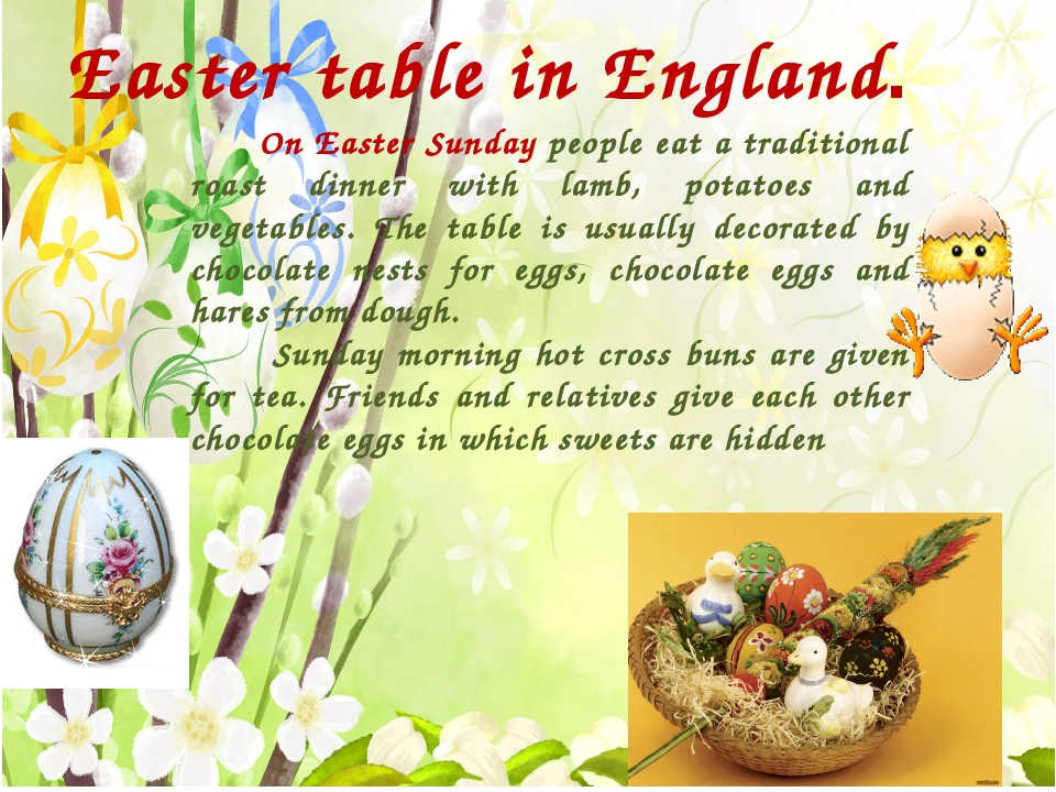 Easter table in England. On Easter Sunday people eat a traditional roast din...