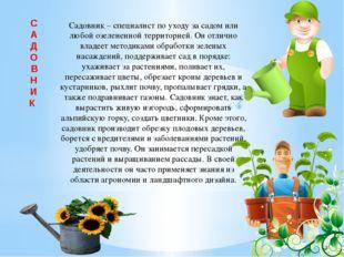 С А Д О В Н И К Садовник – специалист по уходу за садом или любой озелененной