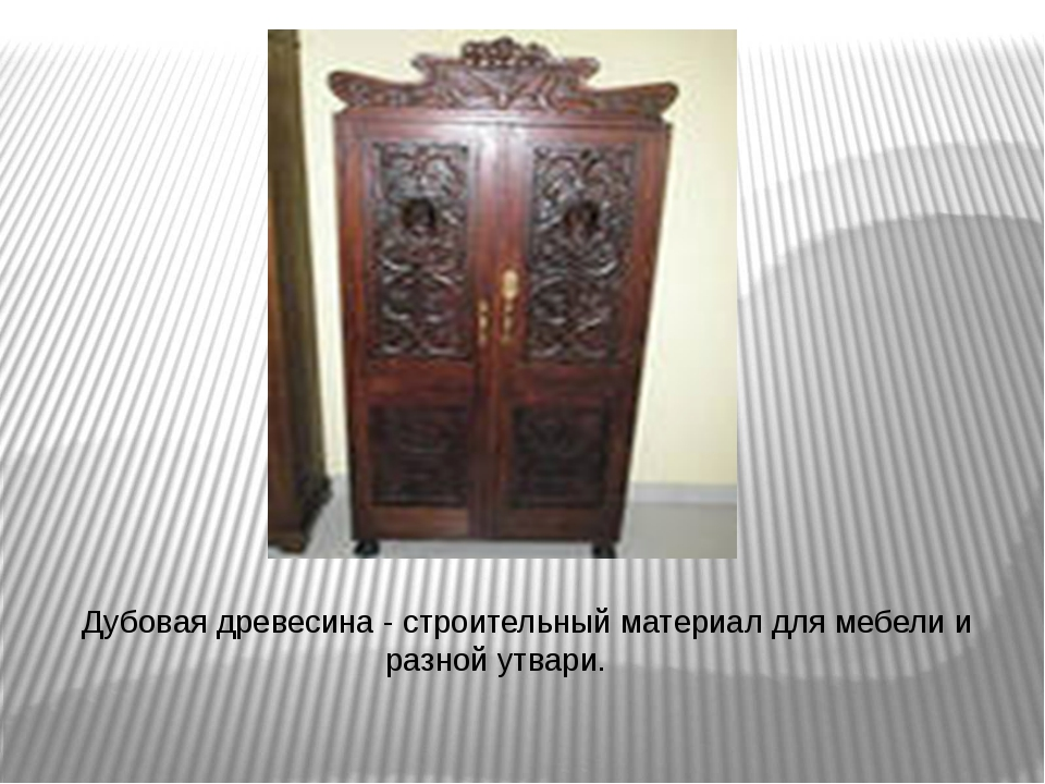 Дубовая древесина - строительный материал для мебели и разной утвари.