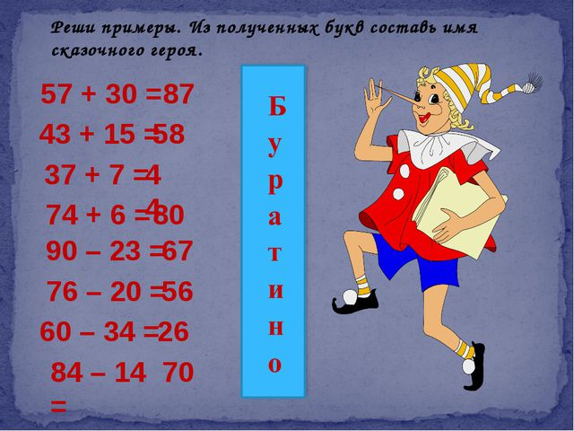 Реши примеры. Из полученных букв составь имя сказочного героя. 57 + 30 = 87 4...