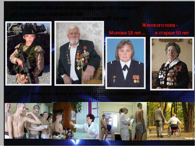 От воинской обязанности освобождаются граждане мужского пола моложе 16 лет и...