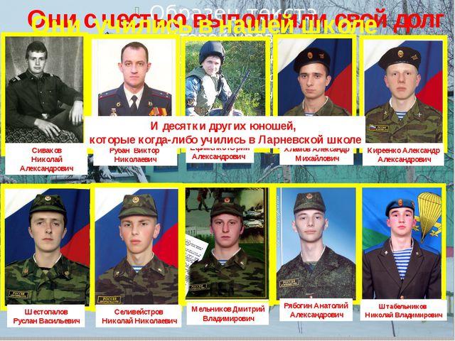 Они с честью выполнили свой долг Они учились в нашей школе Сиваков Николай А...