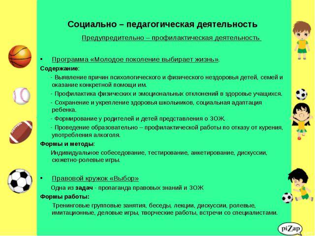 Социально – педагогическая деятельность Предупредительно – профилактическая д...