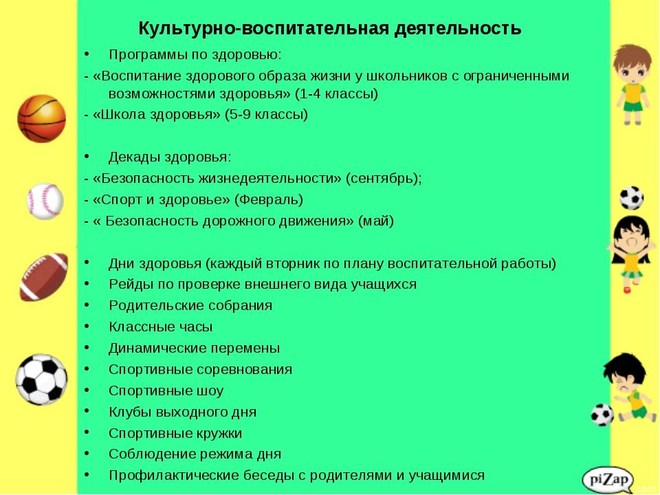 Культурно-воспитательная деятельность Программы по здоровью: - «Воспитание зд...