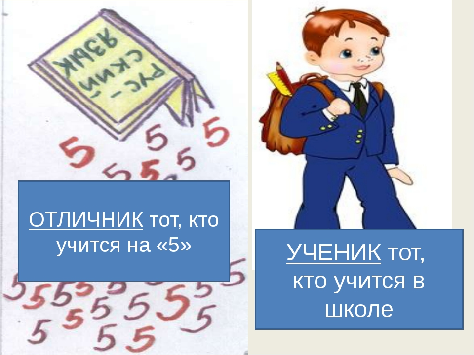 УЧЕНИК тот, кто учится в школе ОТЛИЧНИК тот, кто учится на «5»