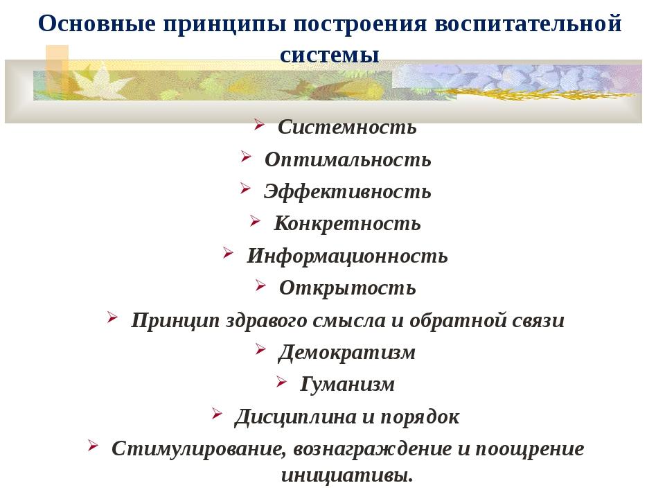 Основные принципы построения воспитательной системы Системность Оптимальность...