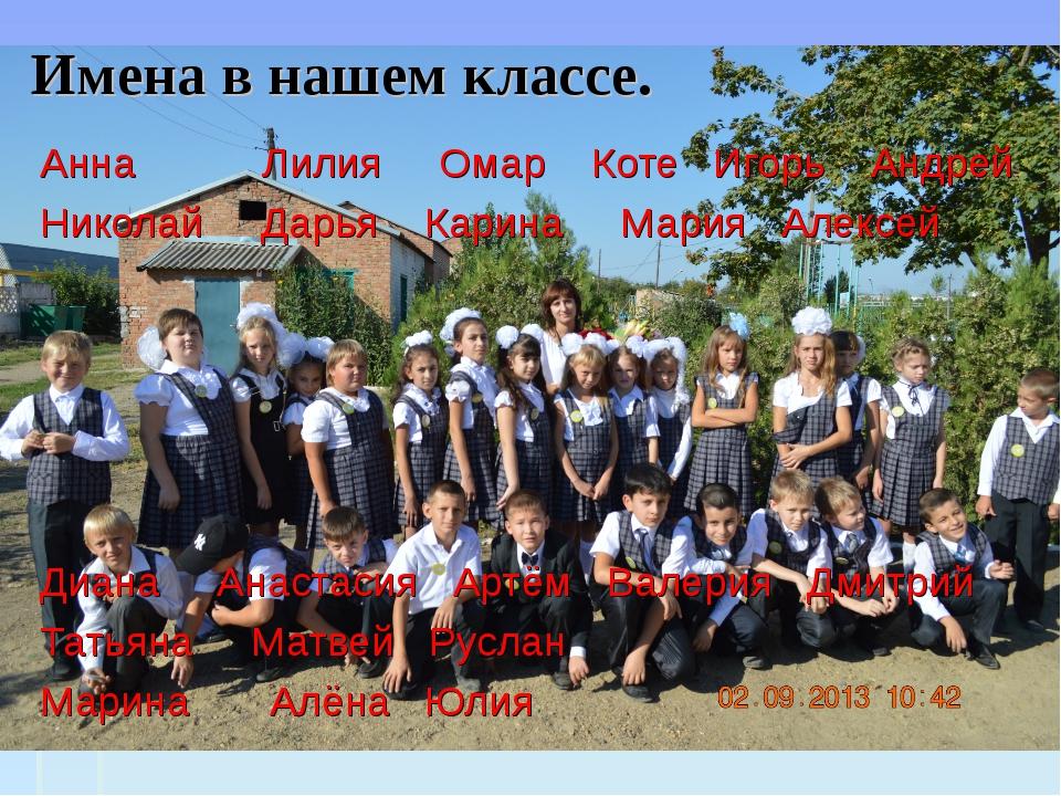 Имена в нашем классе. Анна Лилия Омар Коте Игорь Андрей Николай Дарья Карина...