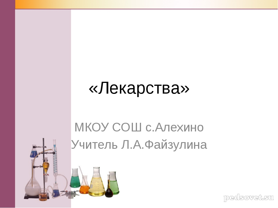 «Лекарства» МКОУ СОШ с.Алехино Учитель Л.А.Файзулина