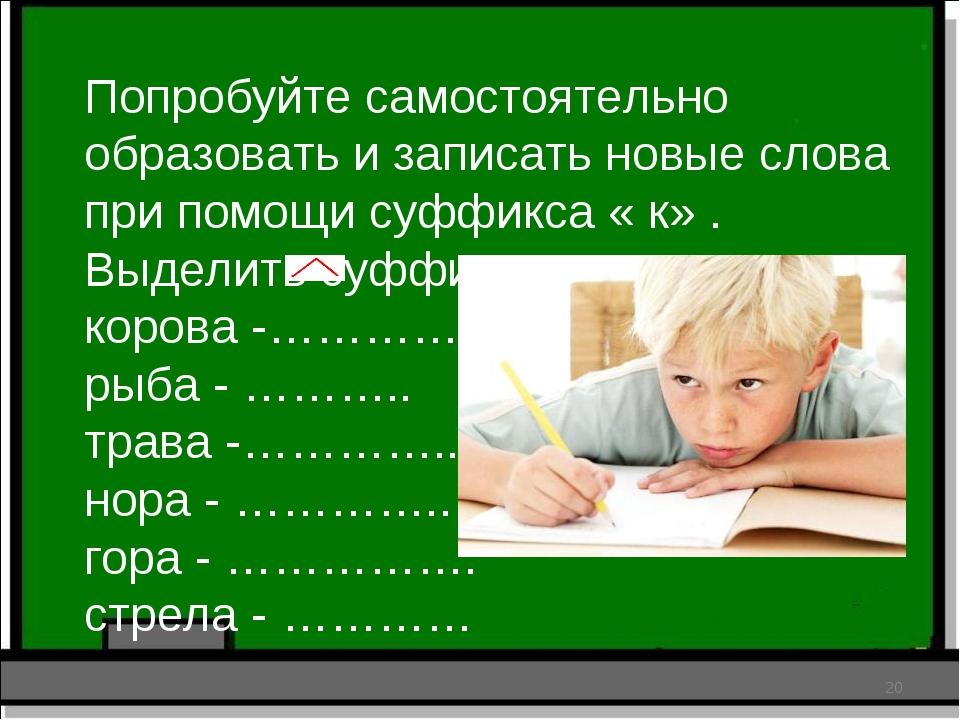 Попробуйте самостоятельно образовать и записать новые слова при помощи суффик...