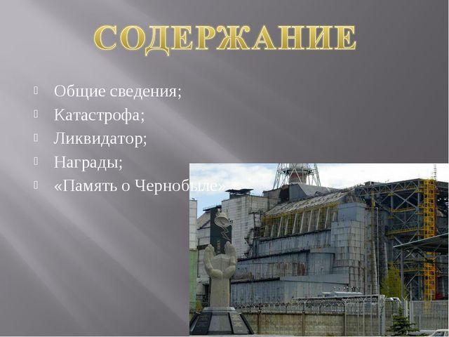 Общие сведения; Катастрофа; Ликвидатор; Награды; «Память о Чернобыле»