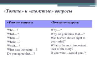 «Тонкие» и «толстые» вопросы «Тонкие» вопросы «Толстые» вопросы Who…? What…?