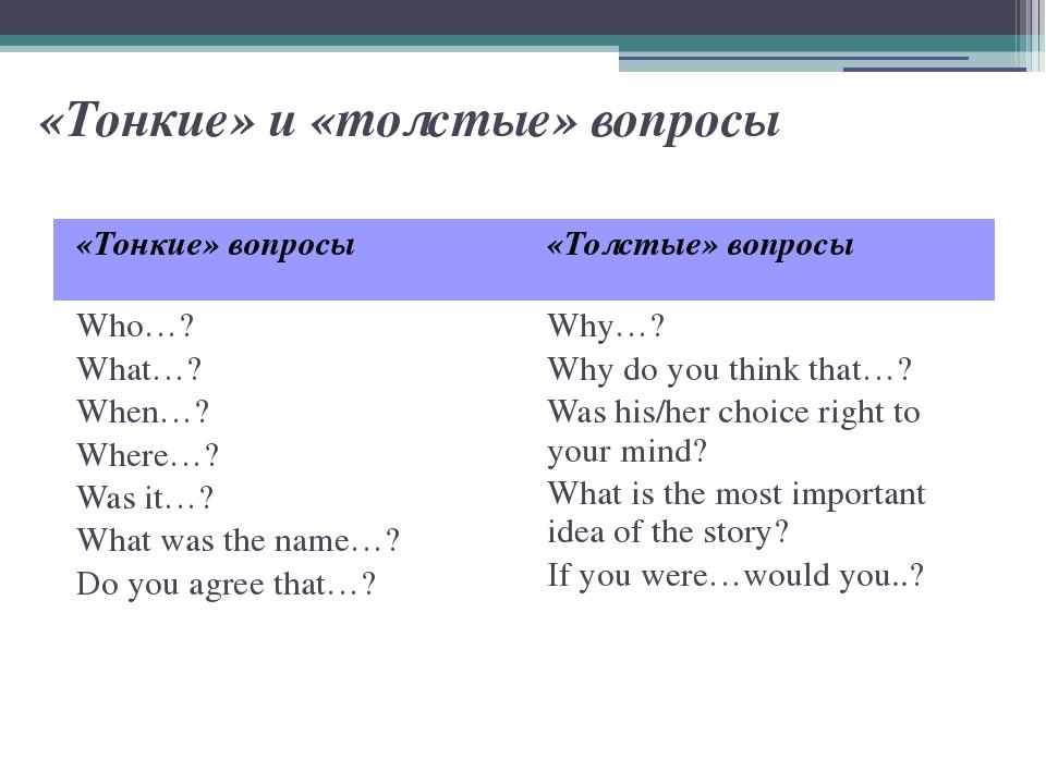«Тонкие» и «толстые» вопросы «Тонкие» вопросы «Толстые» вопросы Who…? What…?...