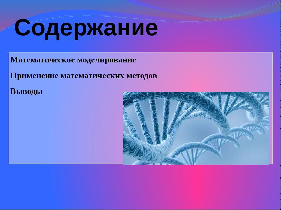 Содержание Математическое моделирование Применение математических методов Выв...
