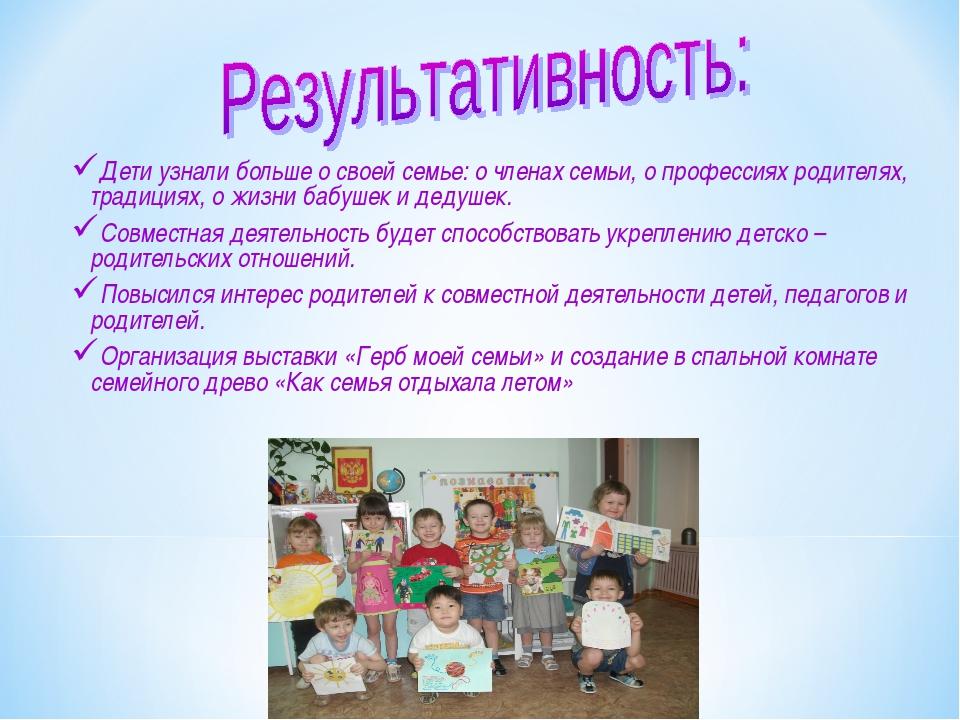Дети узнали больше о своей семье: о членах семьи, о профессиях родителях, тра...