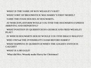 WHAT IS THE NAME OF RON WEASLEY'S RAT? WHAT SORT OF BROOMSTICK WAS HARRY'S F