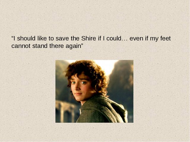 """I should like to save the Shire if I could… even if my feet cannot stand th..."