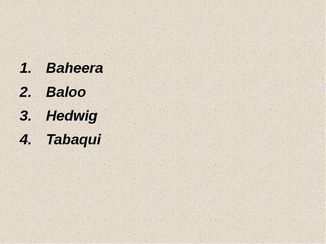Baheera Baloo Hedwig Tabaqui