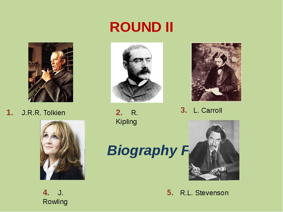 ROUND II Biography Facts 1. J.R.R. Tolkien 2. R. Kipling 3. L. Carroll 4. J....