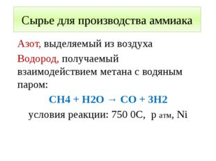 Сырье для производства аммиака Азот, выделяемый из воздуха Водород, получаемы