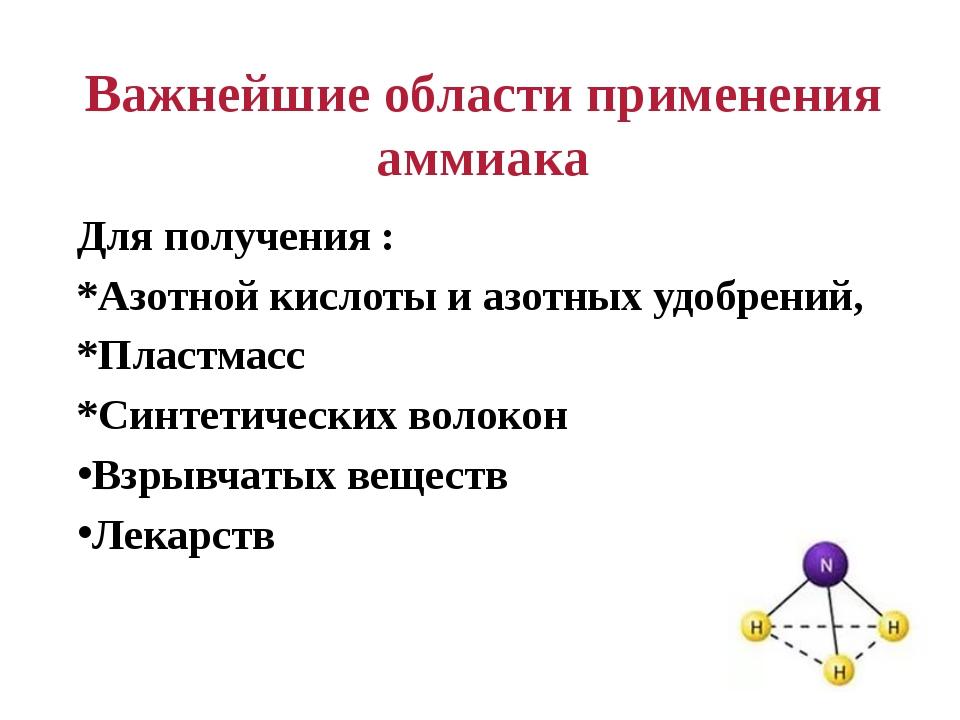 Важнейшие области применения аммиака Для получения : *Азотной кислоты и азотн...