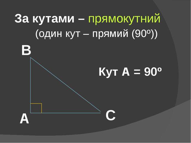 За кутами – прямокутний (один кут – прямий (90º)) А В С Кут А = 90º