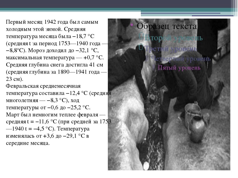 Первый месяц 1942 года был самым холодным этой зимой. Средняя температура мес...