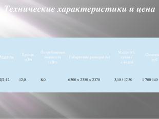 Технические характеристики и цена Модель Произв. м3/ч Потребляемая мощность (