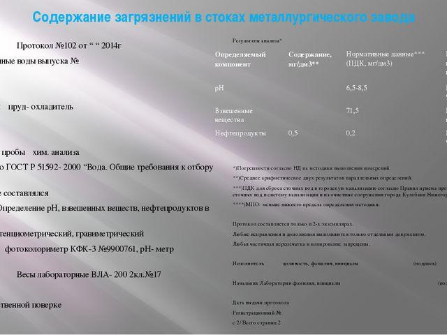 """Содержание загрязнений в стоках металлургического завода Протокол №102 от """" """"..."""
