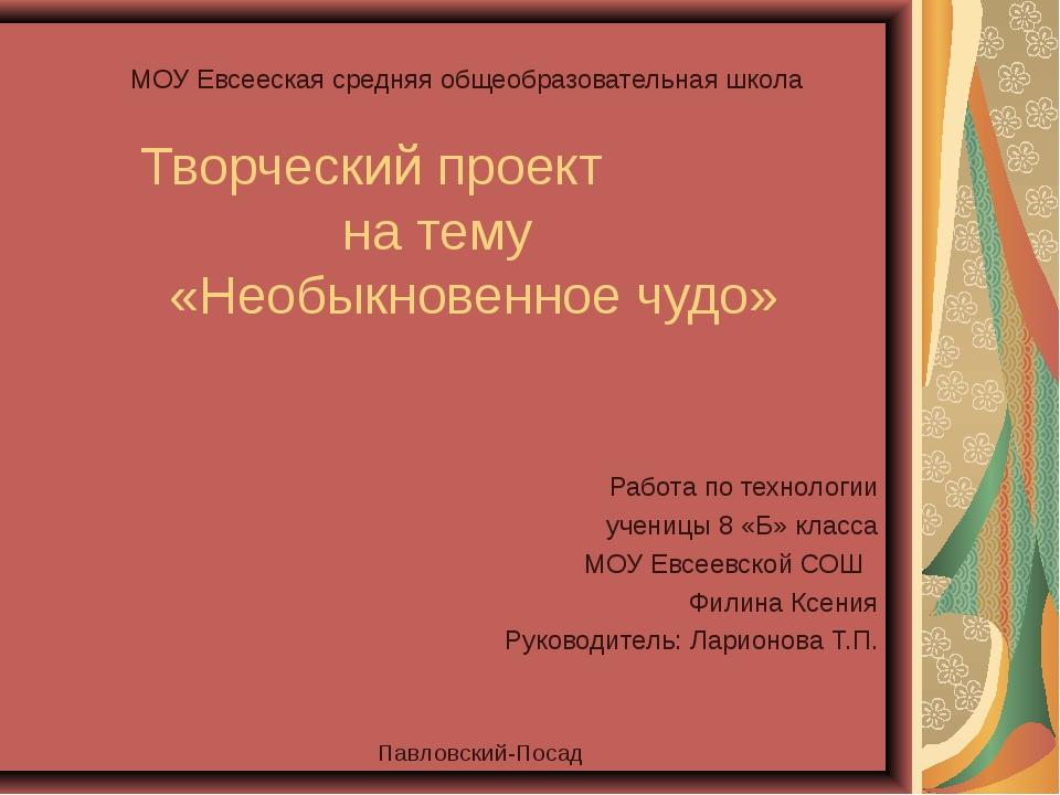 МОУ Евсееская средняя общеобразовательная школа Творческий проект на тему «Не...