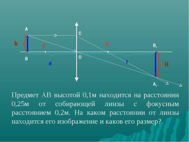 A B F B1 A1 F O C F F F F F A B A B A C O B1 A1 Предмет АВ высотой 0,1м наход...