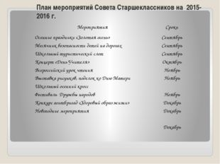 План мероприятий Совета Старшеклассников на 2015-2016 г. Мероприятия Сроки Ос