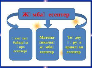 Жұмбақ есептер Қазақтың байырғы қара есептері Матема-тикалық жұмбақ есептер