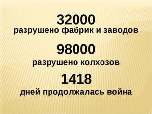 32000 разрушено фабрик и заводов 98000 разрушено колхозов 1418 дней продолжал