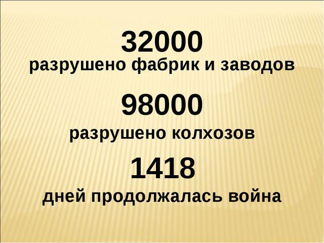32000 разрушено фабрик и заводов 98000 разрушено колхозов 1418 дней продолжал...