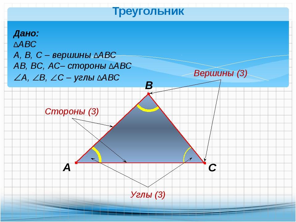 Треугольник В А С Дано: ∆АВС А, В, С – вершины ∆АВС АВ, ВС, АС– стороны ∆АВС...